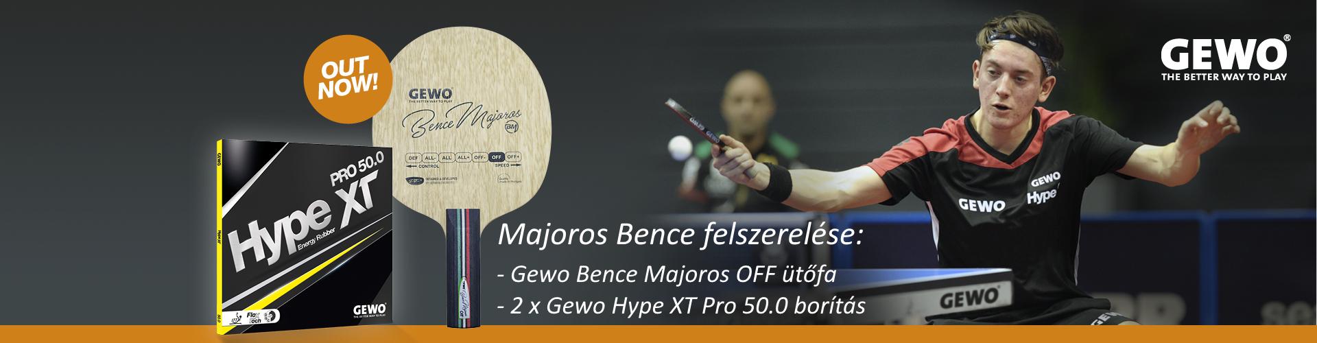 Gewo Majoros Bence ütőfa és Hype XT Pro 50.0 borítás
