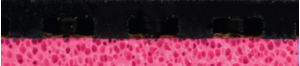 Gewo Hype KR Pro 47,5 asztalitenisz-borítás keresztmetszeti képe rózsaszín szivaccsal